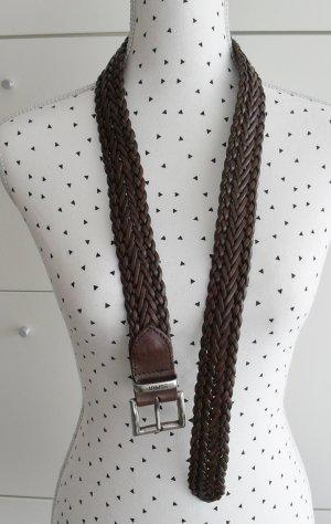 Esprit Braided Belt dark brown leather
