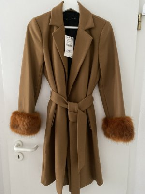 Zara Woman Manteau court brun-marron clair