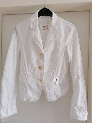 Edler Marie Francois Girbaud Blazer Jacke Lochmuster Wäsche Stickerei Weiß mit Ziernähten gr 36 S