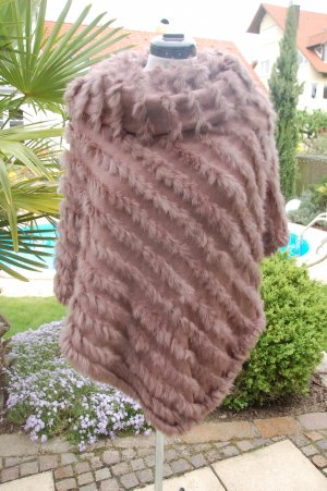 taubert Poncho en tricot brun coton