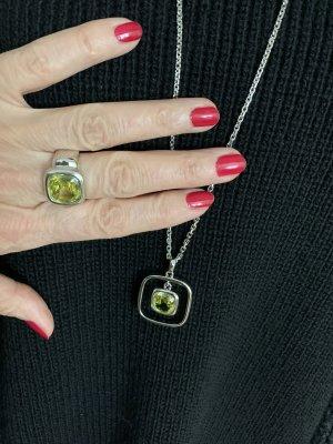Pierre Lang Bague incrustée de pierres argenté-jaune citron vert