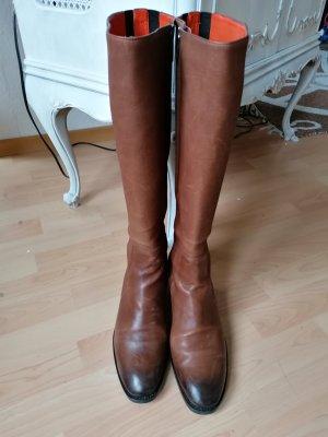 Santoni Riding Boots bronze-colored-black leather