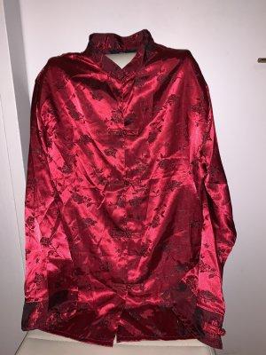 Edler Satin Pyjama Asia Stehkragen Rosen Weinrot