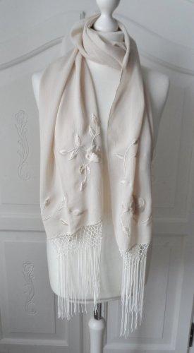 Bufanda de flecos blanco puro