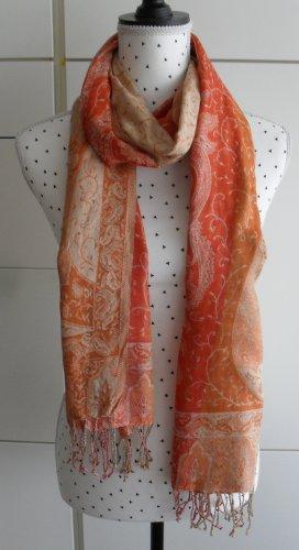 edler Schal mit Paisley Muster orange apricot