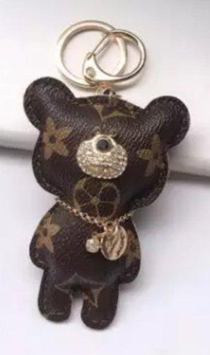 Edler Schlüsselanhänger /Taschenanhänger Bär braun golden Leder *NEU*
