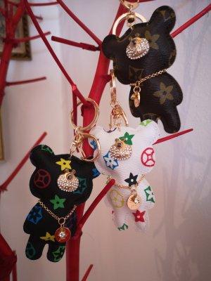 Edler Schlüsselanhänger /Taschenanhänger Bär golden Kunsteder Blumen und Kette *NEU*