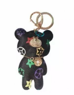 Edler Schlüsselanhänger /Taschenanhänger Bär schwarz bunt golden Leder *NEU*