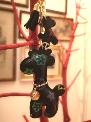 Edler Schlüsselanhänger /Taschenanhänger Giraffe braun golden Kunsteder Blumen und Kette *NEU*