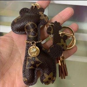 Edler Schlüsselanhänger /Taschenanhänger Giraffe braun golden Leder *NEU*