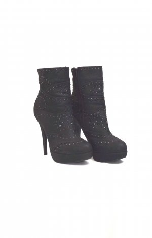 Catwalk Platform Booties black-silver-colored