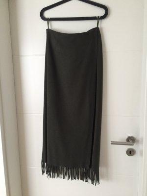 More & More Maxi Skirt khaki-grey wool