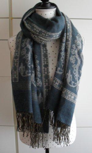 edler XXL Schal Grau Graublau Beige nur wenige Male getragen
