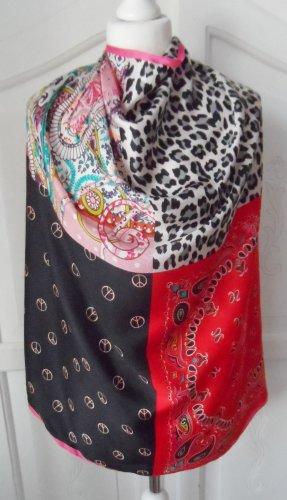 Codello Foulard en soie noir-rouge soie