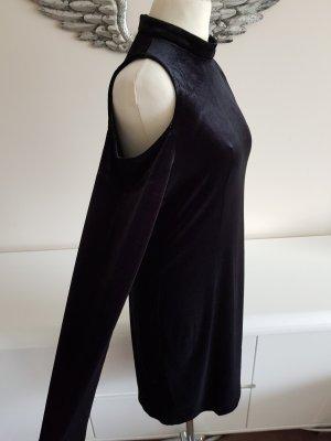 Edles Esprit Cold Shoulder Samtkleid in schwarz