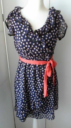 edles H&M Chiffon Kleid Gr. 36 Dunkelblau mit Punkten nur 1 x getragen