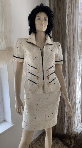 Edles Kostüm Bouclé-Tweed Chanel Stil Gr. 36/38