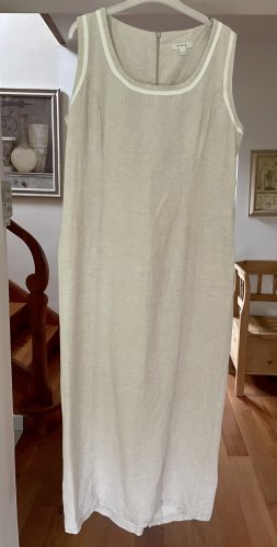123 Paris Sukienka maxi w kolorze białej wełny-jasnobeżowy Len