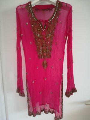 Edles Longshirt/Minikleid mit Perlen und Stickereien reich verziert, Gr. M