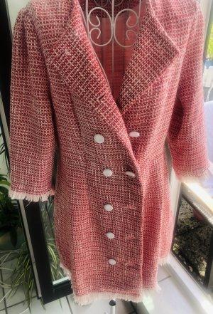 Edles Mantelkleid Vintage retro rot weiß tweed boucle S 36 38 M