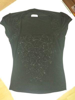 edles schwarzes Shirt mit Perlen von Orsay, Gr. 38