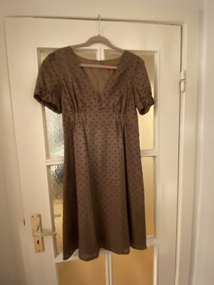 Hallhuber Vestido corte imperio color bronce-lila Seda