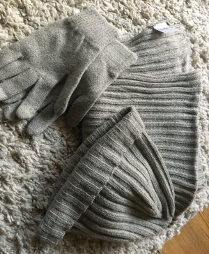 Edles Set: Mütze, Schal und passende Handschuhe (50% Merinowolle)