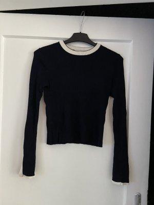 Zara Knit Ribbed Shirt white-dark blue