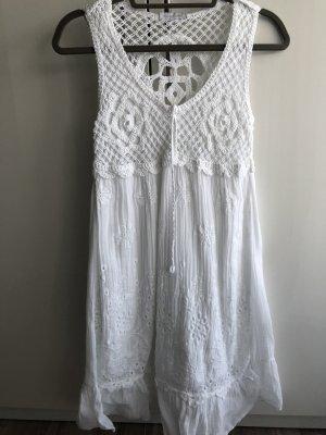 Edles weißes Kleid, Häkeleinsatz, Stickerei, one size
