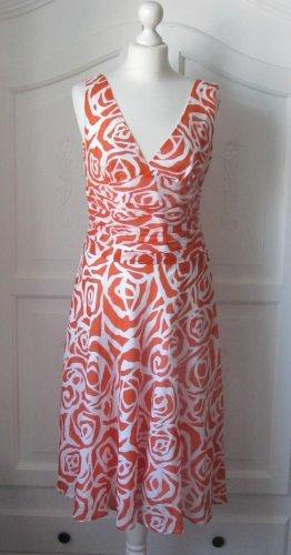 edles ZARA Basic Kleid Gr. L Weiß Orange mit Seide
