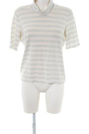 Efixelle Camisa de cuello de tortuga blanco puro-gris claro estampado a rayas