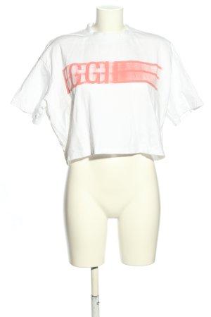 EGGIE Camicia cropped bianco-rosso caratteri stampati stile casual
