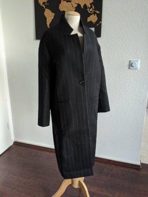 Maje Wełniany płaszcz czarny-biały Wełna