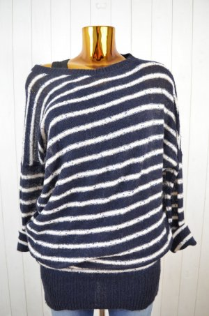 EGO Long Sweater white-dark blue polyamide