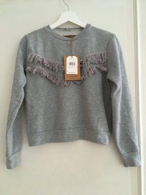 Eight2Nine Pulli Pullover Shirt Baumwolle Grau Volants Quasten S 36 NEU