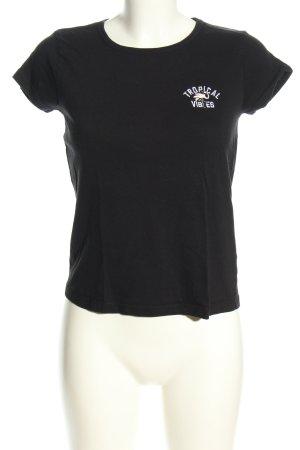 Eight2Nine T-Shirt schwarz-weiß Schriftzug gedruckt Casual-Look