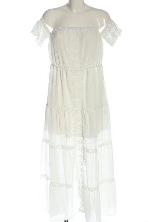 eilly bazar Robe Hippie blanc cassé Motif de tissage style décontracté