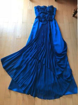 BCBG Maxazria Vestido de baile azul tejido mezclado