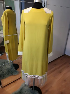 Fringed Dress dark yellow polyester