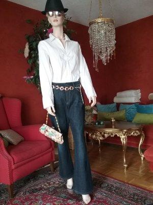 Comma Blouse à manches longues blanc tissu mixte