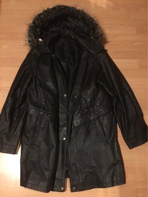 C&A Manteau en cuir noir