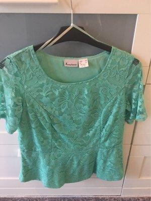 Butik Kanten blouse turkoois