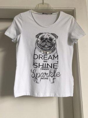 Oui Camiseta estampada blanco-color plata