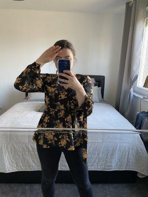Zijden blouse zwart-nude