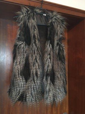 H&M Fur vest black-white