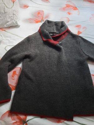 Wełniany sweter czerwony-ciemnoszary