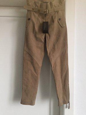 Burberry Prorsum Skórzane spodnie beżowy Skóra