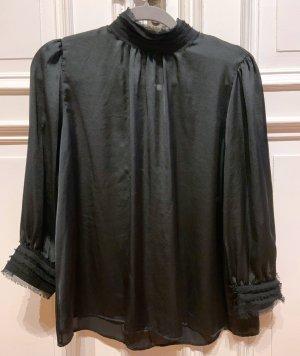 Eine Sommer-Geschichte in schwarz: ZARA, Satin-Bluse, schwarz, 38, M