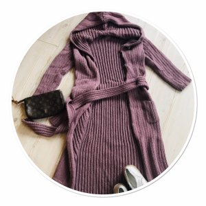 Ann Christine Manteau en tricot gris lilas