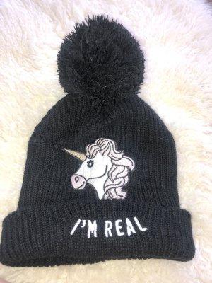 Einhorn Mütze schwarz